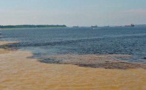 Rencontre des eaux des fleuves Solimões et Rio Negro, en aval de Manaus